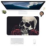HUBNYO Skulls and RosesLeather - Alfombrilla de escritorio de oficina para ratón, superficie lisa, fácil de limpiar, resistente al agua, protector de escritorio para la oficina/el hogar