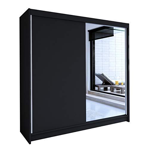 Mirjan24 Schwebetürenschrank mit Spiegel Talin I, Kleiderschrank mit Kleiderstange und Einlegeboden, Breite: 180cm, Schlafzimmer, Modern Design Diele & Flur Garderoben (Schwarz, ohne Beleuchtung)