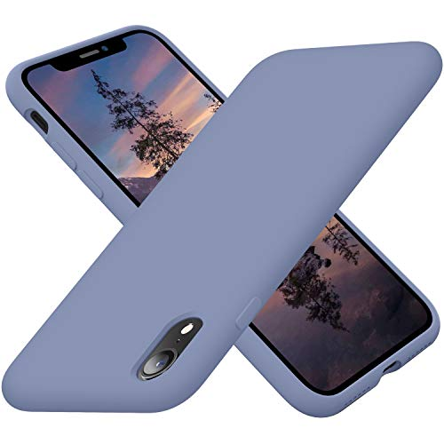 Cordking Phone Case iPhone XR, Silicone Ultra Slim Shockproof Case with [Soft Anti-Scratch Microfiber Lining], 6.1 inch, Lavender Gray