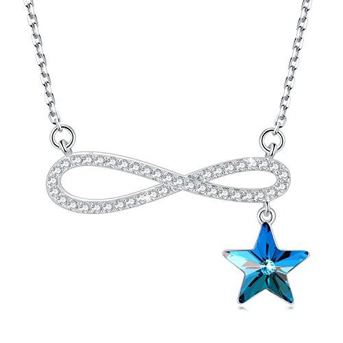 SUE'S SECRET Hermosa Vida - Collar Colgante Estrella Azul - Cristal y 5A Zirconia de Swarovski - Regalo de bisutería de Moda para Mujer/Amante / Novia/Madre / Hija Cadena de Extensión