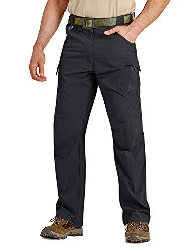 CRYSULLY Men's Hiking Pants Adventure Quick Dry Regular Fit Elastic Waist Outdoor Pants Black