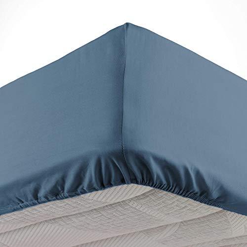 douceur d'intérieur drap housse 2 personnes 180 x 200 cm lina bleu nuit