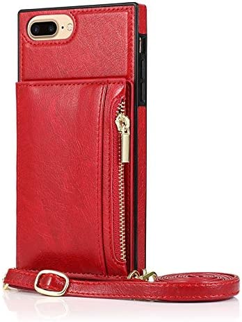 SLDiann Case for iPhone 7/8 Plus, Zipper Wallet Case with Credit Card Holder/Crossbody Long Lanyard, Shockproof Leather TPU Case Cover for iPhone iPhone 7/8 Plus (Color : Red)