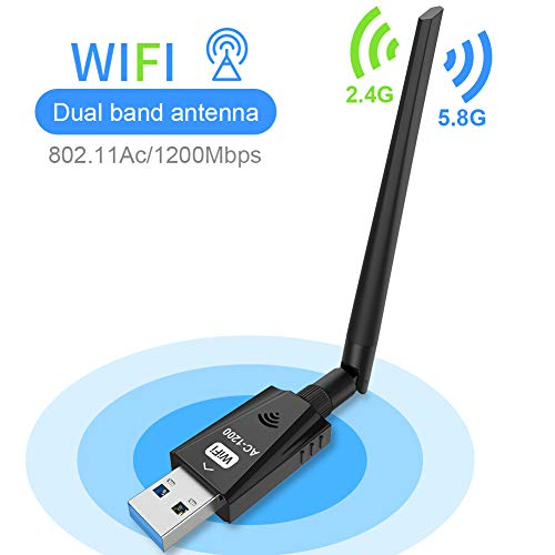 USB Wifi Adapter 1200Mbps Techkey WirelessNetwork Adapter USB 3.0 Wifi Dongle 802.11 ac with Dual Band 2.42GHz/300Mbps/5.8GHz/866Mbps 5dBi High Gain Antenna for Desktop Laptop Windows XP/7-10/ Mac OS
