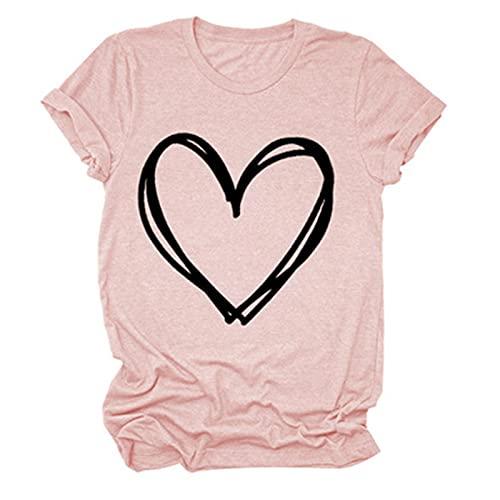 SLYZ Camisetas De Manga Corta De Verano para Mujer, Camisetas Casuales Estampadas para Mujer, Tops De Mujer con Cuello Redondo Y Fondo para Mujer