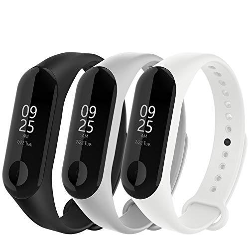 WASPO für Mi Band 4 Armband, Silikon Ersatzband Kompatibel mit Xiaomi Mi Band 3/4 NFC Mehrfarbige Sportarmbänder Damen Herren (Schwarz Grau Weiß)