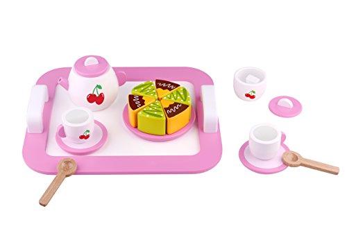 Tooky Toys TKI012 Wooden Afternoon Tea Set, Multicolour