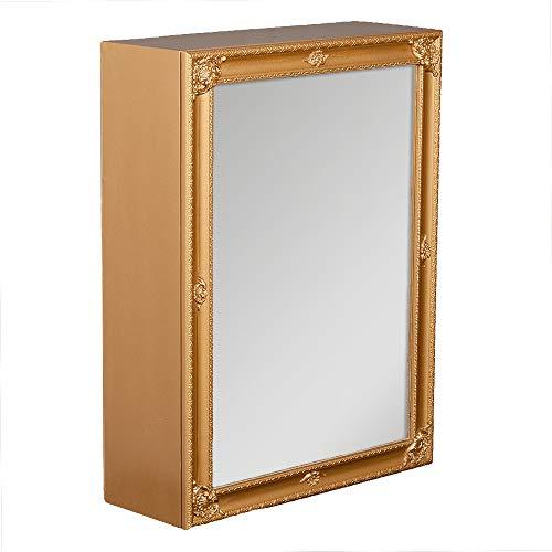 LEBENSwohnART Spiegelschrank MARA Gold ca. 60x80cm Holz Badschrank Spiegel Barock Schiebetür