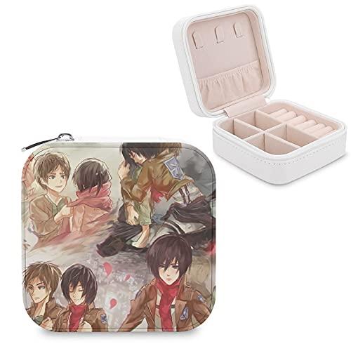 Caja de joyería de anime Attack on Titan de piel sintética, portátil, para collar, pendientes, pulseras, anillos, relojes, caja de almacenamiento para mujeres