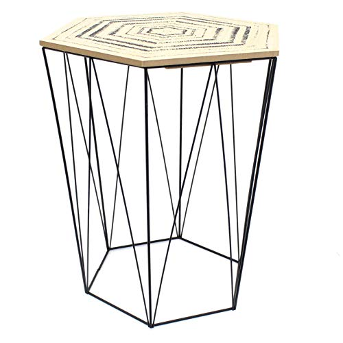Carousel Home and Gifts Hexagon Wooden Top Geometric Wire Occasional Side Table With Lid