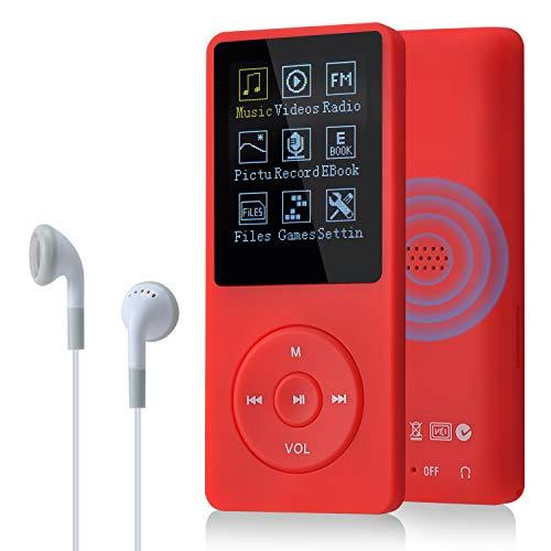 COVVY 8GB(Support bis zu 64GB SD Speicherkarte) Tragbare MP3 Musik Player 70 Stunden Musik Playback Lossless Sound Hi-Fi MP3 Player (Rot)