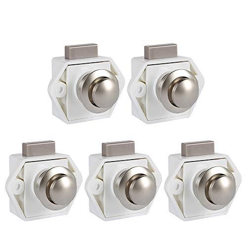 5 Stück Drucktaster ohne Schlüssel, Türschloss, Möbelschloss, Schließer, Knopf, Schloss für Wohnmobil, Wohnwagen, Schrank, Dicke (weiß)