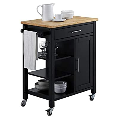 4D CONCEPTS Edmonton Kitchen Cart, Black and Natural from 4D Concepts Drop Ship
