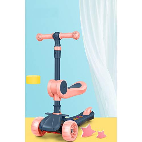 ASZX 3-Rad-Kinder-Roller, Kick-Roller mit blinkenden Rädern, höhenverstellbarer Roller für Kinder Lenken Lernen,...