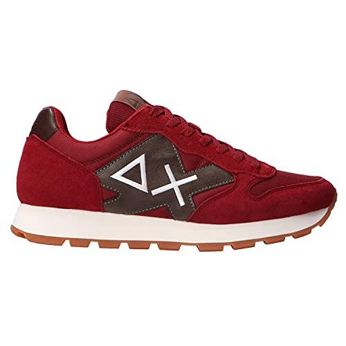 SUN68 Art. Z40110 Sneaker Uomo in Tessuto e camoscio Comoda Colore bordò e Marrone (Numeric_44)
