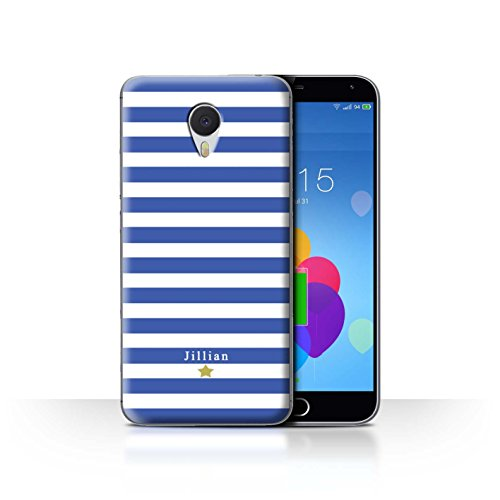 Stuff4 Phone Case/Cover/Skin/mzum3 N/Custom Stripes/Striped Collection Étoile Rayure Bleu