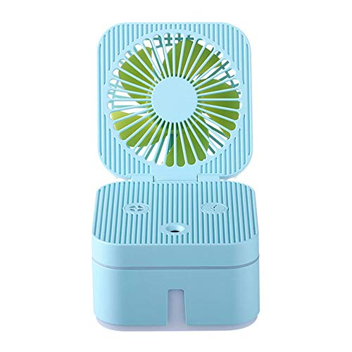 Ventilador De Pulverización Multifuncional, Ventilador Recargable con Ventilador De Batería Recargable USB Spray De Agua para El Dormitorio De La Oficina Doméstica Y Viajes Al Aire Libre,Azul