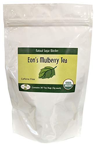 USDA Organic White Mulberry Leaf Tea (30 Teabags)   Blood Sugar Controller   Helps Fight Cholesterol   Controls Sugar Levels   Caffeine Free   Boosts Immune System   Helps Weight Loss