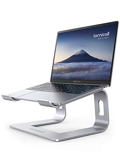 Laptop Stand, Lamicall Laptop Riser Holder : Ergonomic Detachable Aluminum Computer Notebook Stand Elevator for Desk, Compatible with MacBook Air Pro, Dell XPS, HP (10-15.6'') - Silver