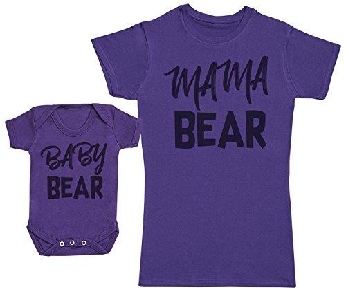 Zarlivia Clothing Baby Bear & Mama Bear - Ensemble Mère Bébé Cadeau - Femme T Shirt & bébé Bodys - Violet - Small & Naissance