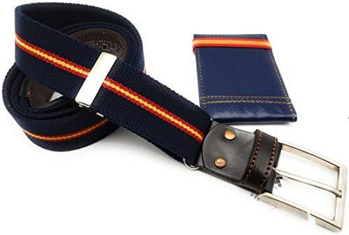 crisandecor Cinturón hombre elástico ajustable y piel azul marino con los colores de la bandera de España regalo tarjetero polipiel cinta elástica España