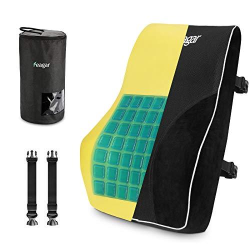 Feagar Gel Lendenkissen, Rückenkissen Lendenwirbelstütze für Autositz, Bürostuhl, Rückenstütze mit Memory Foam, Schwarz