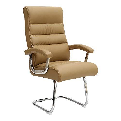 Daily Equipment Chair Ergonomischer drehbarer Computertisch Stuhl Bogenfuß hohe Rückenlehne Büro-Computerstuhl Ledertisch Gaming-Stuhl für Büro-Besprechungsraum Tragfähigkeit: 330 lbs Braun mit Fed