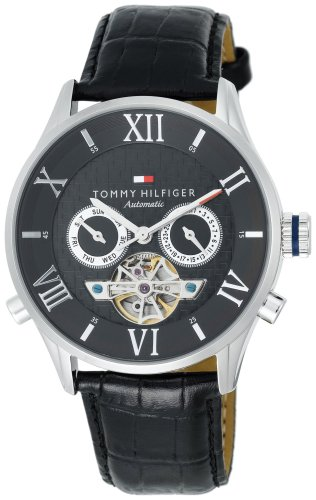 Tommy Hilfiger Men's 1710186 Black Automatic Leather Strap Watch