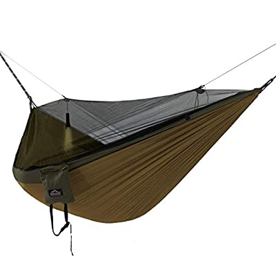 Everest Double Camping Hammock with Mosquito Net | Bug-Free Camping, Hiking, Backpacking & Survival Outdoor Hammock Tent | Reversible, Integrated, Lightweight, Ripstop Nylon | Khaki/Woodland/Net Black