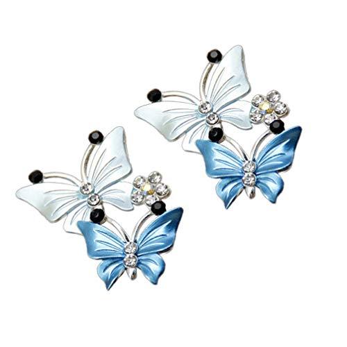 FAVOMOTO 2Pcs Clip de Perfume de Aromaterapia del Coche Bling Shiny Dual Butterfly Ambientador de Salida de Aire del Coche Clip de Aceite Esencial Abrazadera de Ventilación en Forma de