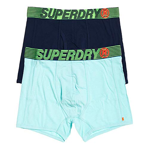 Superdry Herren Speed Sport Boxer Double Pack Boxershorts, Mehrfarbig (Richest Navy/Mint Feeder X4f), X-Large