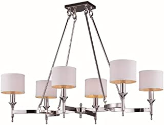 Maxim Lighting 22376WTPN Fairmont - Six Light Chandelier, Polished Nickel Finish with Oatmeal Fabric Shade