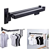 Wall Mounted Space-Saver Retractable Fold Away Clothes Drying Rack Clothes Hanger for Indoor/Outdoor Balcony Laundry Bathroom and Bedroom,Easy to Install - Black
