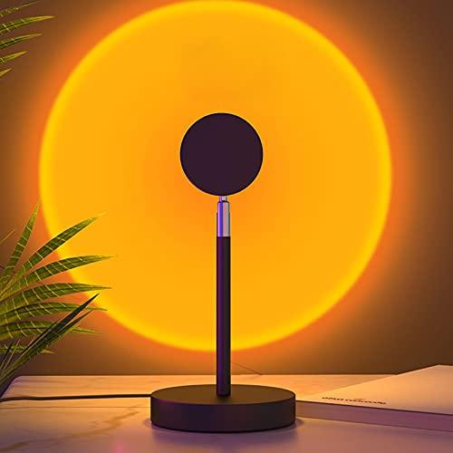 Lámpara De Proyección De Puesta De Sol con Arco Iris De Rotación, Luz LED, Lámpara De Iluminación De Humor Visual Romántica No Deslumbrante, Portátil para Sala De Es Sunset