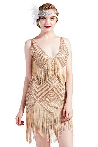 Coucoland 1920s Kleid Damen Sexy V Ausschnitt Flapper Charleston Kleid 20er Jahre Retro Stil Great Gatsby Motto Party Damen Fasching Kostüm Kleid (Rose Gold, XS)