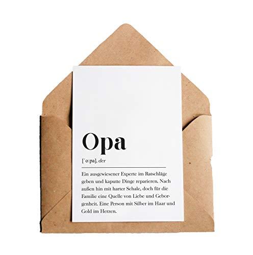 Grußkarte Opa: DIN A6 Karte mit Umschlag (Kraftpapier)