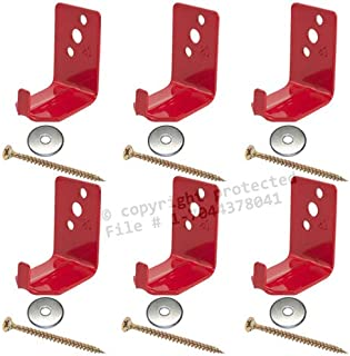 (6 Pack) - Universal Fire Extinguisher Wall Hook, Mount, Bracket, Hanger for 15 to 20 Lb. Extinguisher - FREE SCREWS & WASHERS INCLUDED