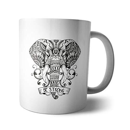 Kaffee-Becher - Tasse Wilde Tiere | Mandala wild and free Wolf Fuchs Tiger Elefant Wildmotiv Zeichnung Motivation, Verpackung:Ohne Box, Design:Design 3