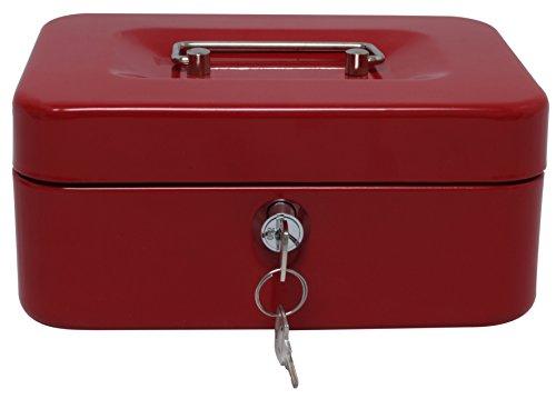 Royal Brands Caja de dinero con cerradura de llave, caja de almacenamiento de metal portátil, hucha con doble capa 2 llaves para...