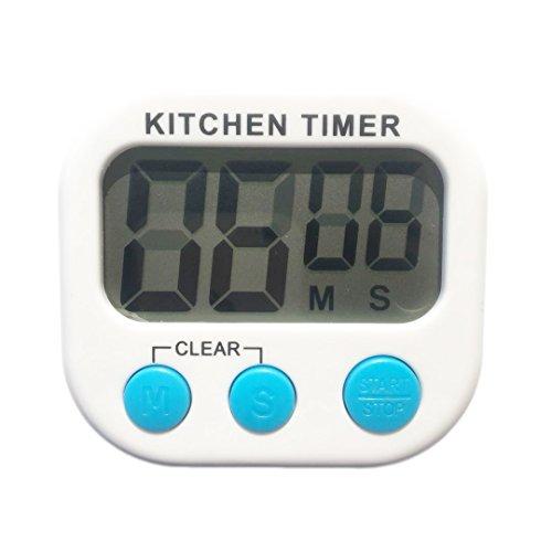 Timer digitale da cucina, grandi cifre, allarme forte, supporto magnetico, bianco
