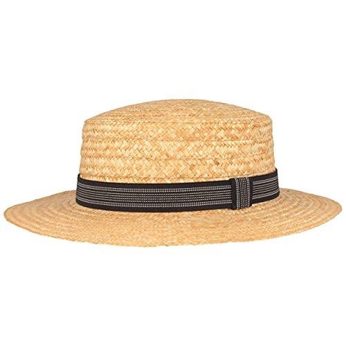 Kreissäge Strohhut | Sommerhut | Sonnenhut –aus 100% Stroh mit schwarzem Ripsband– Gondoliere-Hut Made IN Italy – 6 cm breite Krempe - Beige (Blau gestreift, M (56-57))