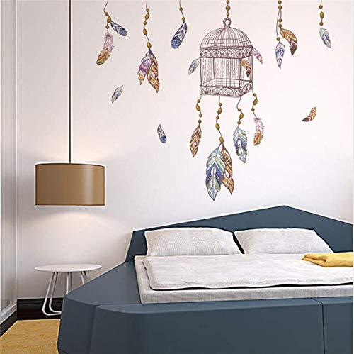 yiyishop Fliegende Federn Vogelkäfig Wandaufkleber Für Schlafzimmer Wohnzimmer Dekoration Wandkunst PVC Abziehbilder Abnehmbare 50X70 cm