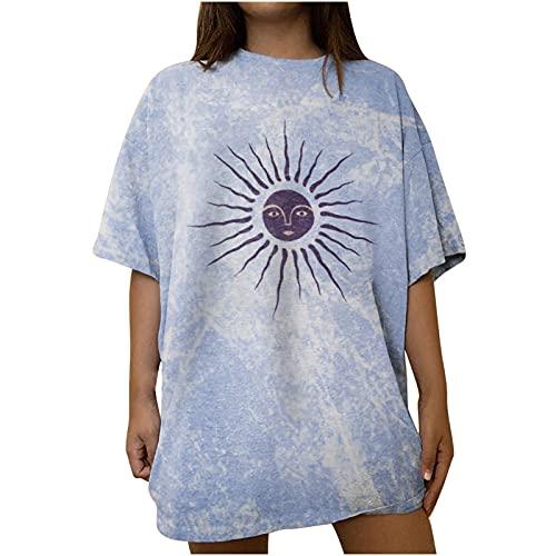 URIBAKY - Camicia da donna con scollo rotondo, a maniche corte, con stampa sfumata, blu, XXL