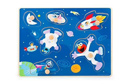 Small Foot - Sesamstrasse Univers, Bois - Ernie, Bert, Macaron et Co, Puzzle à Boutons Jouets, 1 ans, 10976, Multicolor - version allemande