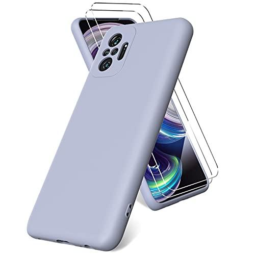 Vansdon Funda Compatible con Xiaomi Redmi Note 10 Pro/Note 10 Pro MAX, 2 Unidades Protector Pantalla Cristal Templado, Silicona Líquida Gel Ultra Suave Funda- Gris Lavanda