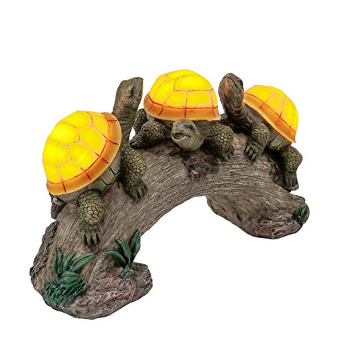 TERESA'S COLLECTIONS Schildkröten Gartenfiguren Solar Gartenleuchte für Außen 17.5cm Harz LED Solarleuchte Wasserfest Schildkröte Gartendeko Figuren für Rasen Balkon Terrasse Hof