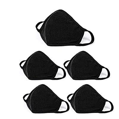 5 Pack Fashion Face_masks, Unisex Black Dust Cotton, Washable, Reusable Cotton Fabric from JOKBEN