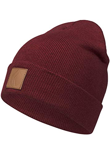 Occulto Leatherpatch Winter Mütze Beanie (Bordeaux Rot)