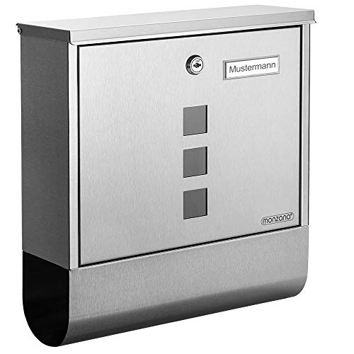 Monzana Design Briefkasten Edelstahl silber mit Zeitungsfach Sichtfenster 2 Schlüssel Namensschild Wandbriefkasten
