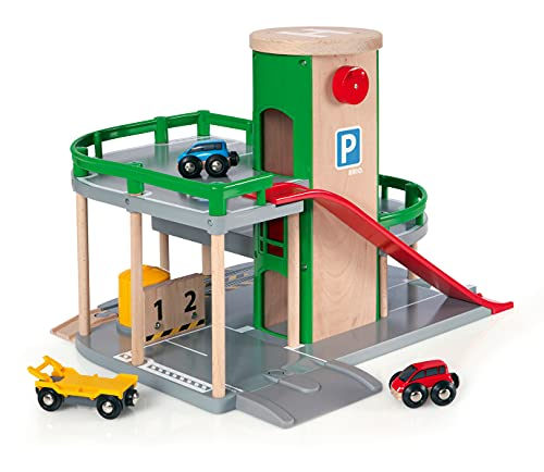 BRIO World Parking Garage for Kids age 3 years and up compatible with all BRIO train sets